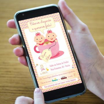 Convite Chá De Bebê para Gêmeas - DIGITAL