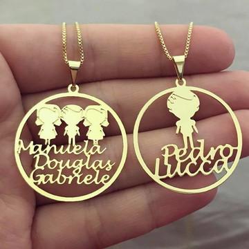 Colar Mandala Filhos + Nomes banhado a Ouro