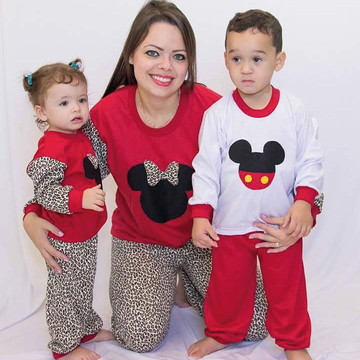 Pijama Mãe e Filhos Mickey e Minnie Inverno