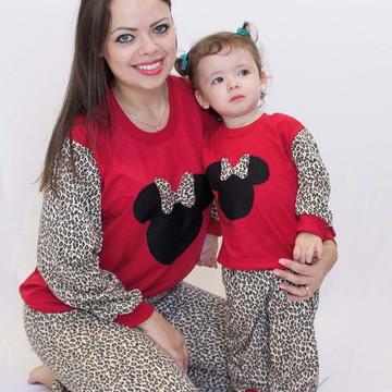 Pijama Mãe e Filha Minnie Oncinha Inverno