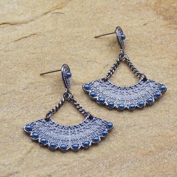 Brinco leque grafite azul moda feminina bijuterias