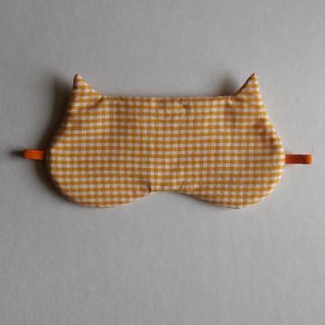 Máscara de dormir Gato - xadrez laranja