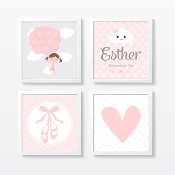 Quadros decoração bebê menina coração