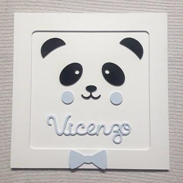 Enfeite quadro porta maternidade urso panda
