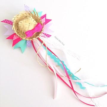 Acessório de cabelo Festa Junina Mini Chapéu de Palha