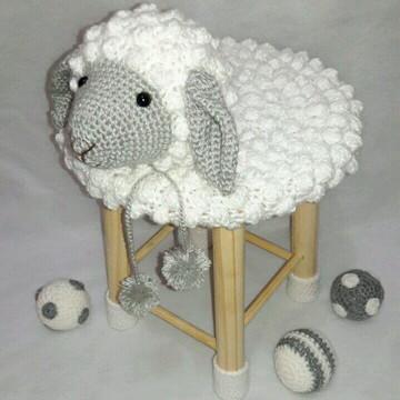 Capa de banco - ovelhinha branco/cinza
