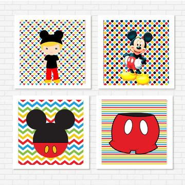 "Kit 4 quadros ""Mickey"""
