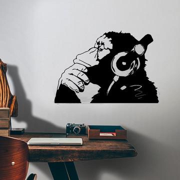 Adesivo de Parede Macaco com Fone de Ouvido-M 70x48cm