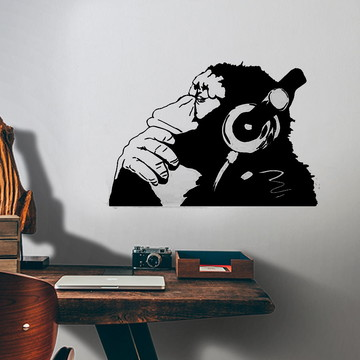 Adesivo de Parede Macaco com Fone de Ouvido-EG 98x67cm