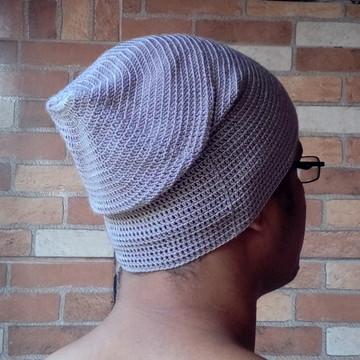 Gorro Beanie Masculino Crochê Cinza