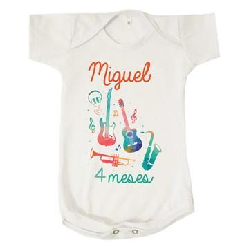 ec77e0661e Body Infantil Instrumentos Musicais Mesversário Miguel