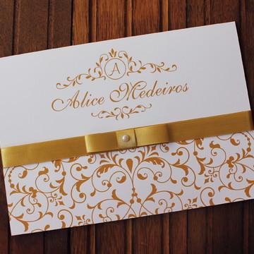 Convite 15 anos - Convite de Casamento - dourado debutante