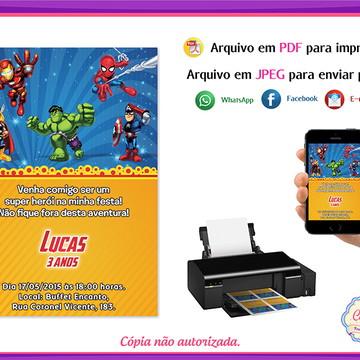 Arte Convite Digital Vingadores Kids