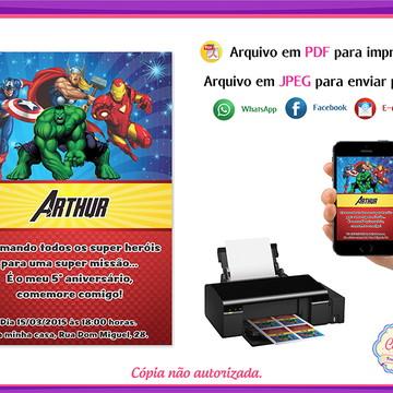 Arte Convite Digital Vingadores