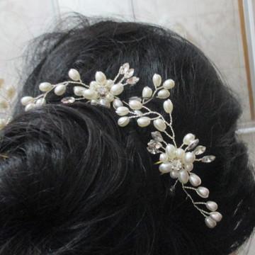 Arranjo cabelo de noiva grampo de luxo