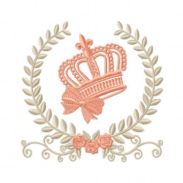 Matriz Bordado Coroa na Moldura Agulha Feliz Matrizes