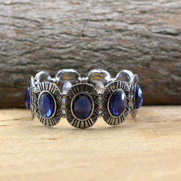 Pulseira prateada azul acessorios da moda bijuterias