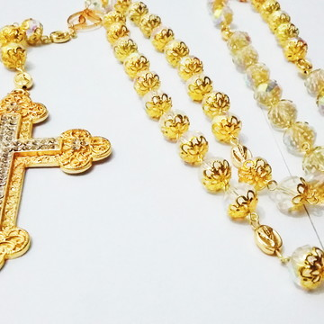 Terço de noiva cristal transparente crucifixo luxuoso