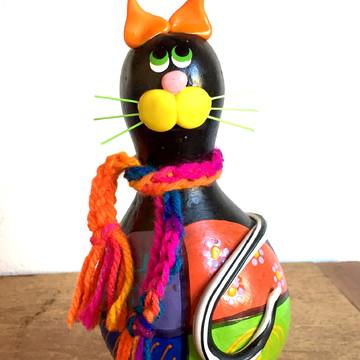 Enfeite de Mesa 2 Gatinhos em Cabaça Colorido Artesanato
