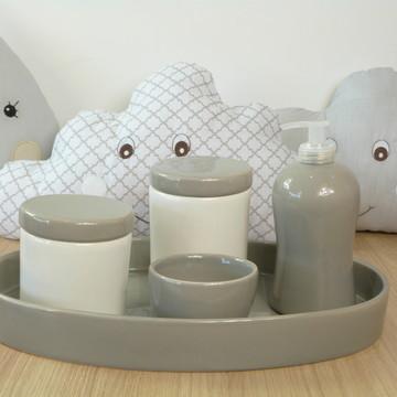 Kit Higiene Bebe Porcelana Cinza e Branco com Bandeja