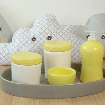 Kit Higiene Bebe Porcelana Cinza e Amarelo com Bandeja