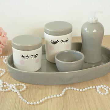 Kit Higiene Bebe Porcelana Cílios Cinza com Bandeja