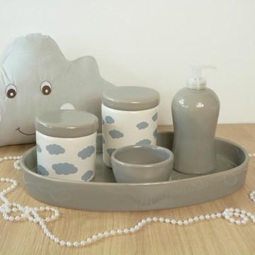 Kit Higiene Bebe Porcelana Nuvem Cinza com Bandeja