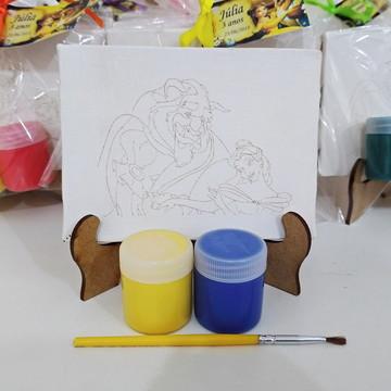 Kit Pintura Suporte com Tintas e Pincel - A Bela e a Fera