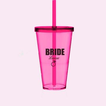 Copo Bride Team Bride Squad com Tampa e Canudo