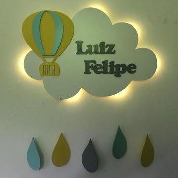 Nuvem Luminosa Com Balão E nome LED Luz Quarto de Criança