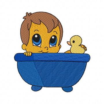 Hora do Banho Bebê JEF Matriz para Bordado