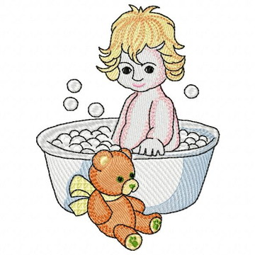 Matriz Bordado Hora do Banho Bebê Agulha Feliz Matrizes