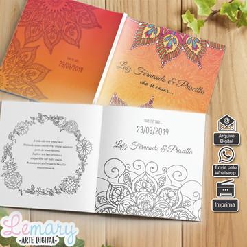 Convite Digital Revista Colorir Casamento Mod.005