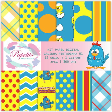 Kit Papel Digital - Galinha Pintadinha 01