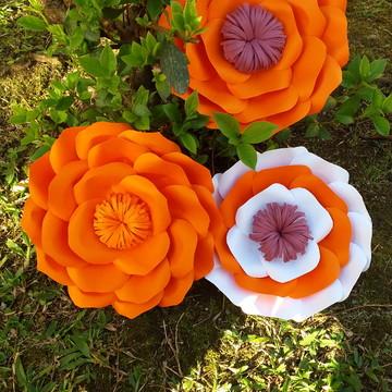 Kit Flores gigantes RAPOSINHA em papel scrap Luxo