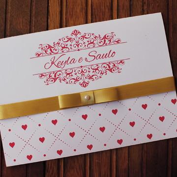 Convite Casamento - Convite 15 anos - vermelho dourado