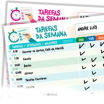 QUADRO DE TAREFAS DA SEMANA / ROTINA E INCENTIVO -VERDE
