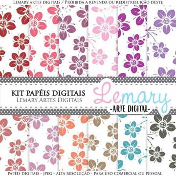 Kit Papeis Digitais Scrapbook Floral REF003