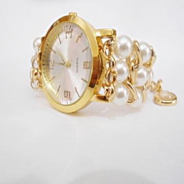 Relógio Feminino Pérolas com Correntes