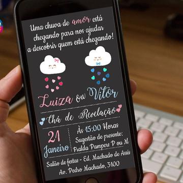 Arte digital Convite - Chá revelação chuva de amor