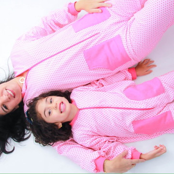 Kit 2 Macacão Pijama Flanelado Tal Mãe Tal Filha