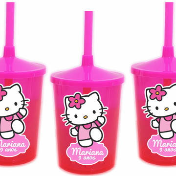 Adesivo para Copo com Canudo Shake Twister Hello Kitty