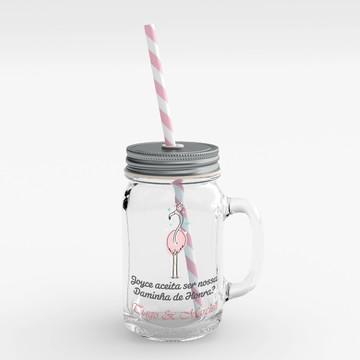 Convite Daminha de Casamento mason jar mini jarro flamingo