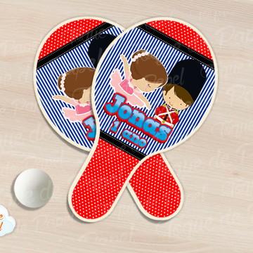 Raquete de ping pong Soldadinho e Bailarina Listrado