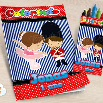 Kit colorir com giz de cera Soldadinho e Bailarina Listrado