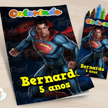 Kit colorir com giz de cera Super Man