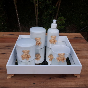 Kit Higiene Bebê Ursinho Dourado Porcelana Bandeja Mdf 5 pçs