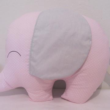 Almofada Elefantinho Rosa Poá e Cinza