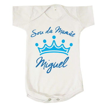 Body Bebê Menino Sou da Mamãe Miguel Personalizado