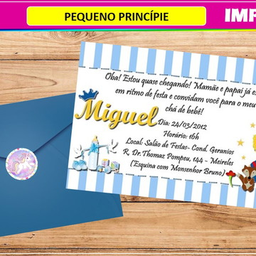 Convite Pequeno Príncípe- Impresso-Com Envelope e Tag